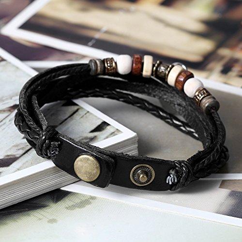 Flongo Armband, 2 Stück Echtleder Leder Armband Armreif Lederarmband Kordelkette Schwarz Braun Tai Chi Yin und Yang Lieben Valentine Paar Paare Set Herren,Damen
