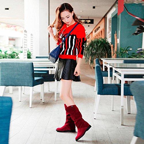 Vovotrade Donne dolce stivale Flock scarpe stivali da neve Rosso
