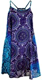 Guru-Shop Boho Dashiki Minikleid, Trägerkleid, Strandkleid, Tank Top, Damen, Flieder/türkis, Synthetisch, Size:38, Kurze Kleider Alternative Bekleidung