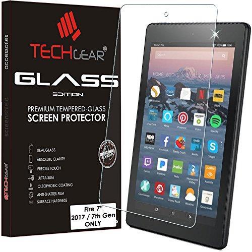 TECHGEAR Panzerglas für Amazon Fire 7 mit Alexa Tablet (2017/7. Gen) - Panzerglasfolie Anti-Kratzer Schutzabdeckung kompatibel mit Amazon Fire 7 2017 (Nicht für die Amazon Fire 7 2015)