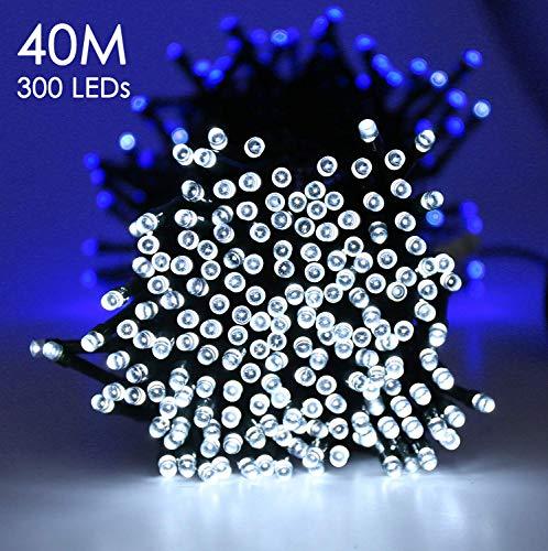 Quntis 40m 300er LED Lichterkette Batteriebetrieben Timer (Blauweiß), Innen und Außenbeleuchtung 8...