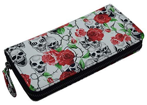 Damen Geldbörse Totenkopf Rosen Print Skull Flower Design Portemonnaie Geldbeutel Weiß - Print Tote-geldbeutel