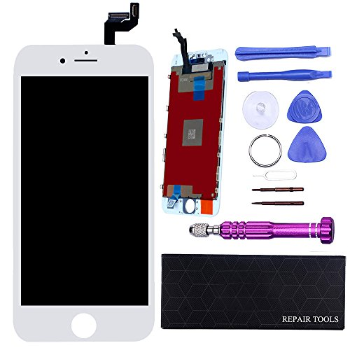 Weiß Touch Screen (QI-EU LCD Touchscreen für iPhone 6S Weiß Display Ersatz-Retina Display komplett Bildschirm Reparatur Glas mit Werkzeuge)