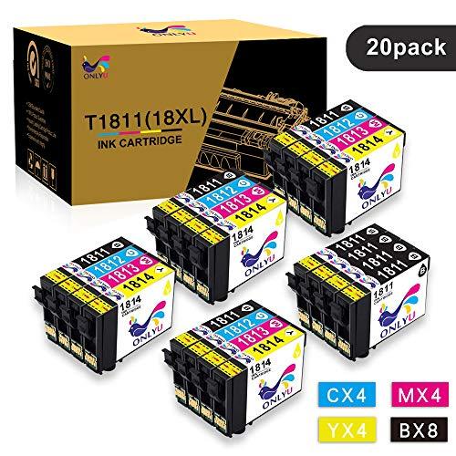 ONLYU 20 Pack Compatible pour Epson 18XL T1811-T1814 Compatible pour Epson Expression Home XP-102 XP-202 XP-205 XP-212 XP-215 XP-225XP-302 XP-305 XP-312 XP-315 XP-322 XP-325 XP-402 XP-405 XP-412