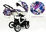Kinderwagen Tropical, 3in1 -Set Wanne Buggy Babyschale Autositz Cranes at Night