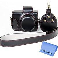 First2savvv negro Calidad premium Funda Cámara cuero de la PU cámara digital bolsa caso cubierta con correa para Olympus PEN E-PL8 EPL8 con lente 14-42mm + paño de limpieza XJD-EPL8-HH01G11