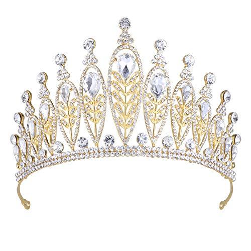 Frcolor Baroque Couronne de mariée Strass Chapeaux Coiffe de Mariage Bijoux pour Femme Lady Girl (Blanc)