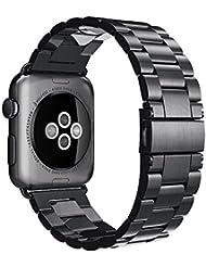 Bracelet pour Apple watch, Simpeak Apple Watch Band Acier Inoxydable Strap Wrist Band Replacement avec Métal Fermoir pour Apple Watch 42mm Series 1 Series 2 (Noir)