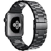 Simpeak Cinturino Sostituzione per Apple Watch 42mm in Acciaio Inossidabile con chiusura pieghevole,Cinghia di Polso,Fibbia di Metallo per Tutti i Modelli Apple Watch 42mm di Series 1 2015 & Series 2 2016 - Chiusura Pieghevole