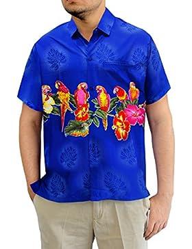 LA LEELA Shirt camisa hawaiana Hombre XS - 5XL Manga corta Delante de bolsillo Impresión hawaiana casual Regular...