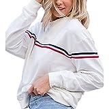LILICAT Clothing Women O Neck Autumn Long Sleeve T-Shirt Sweatshirts Blouse Tops Striped shirt stripe printing design White simple (White, Size :XL)