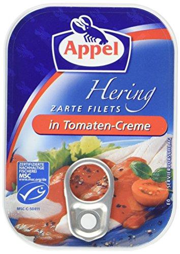 Appel Heringsfilets, zarte Fisch-Filets in Tomaten-Creme, MSC zertifiziert, 100g Dose (Fischfilet)