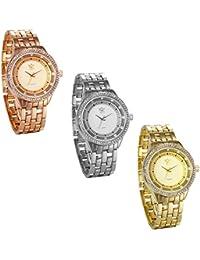 JewelryWe 3pcs Relojes de Hombre Caballero Grande Reloj de Metal Buen Regalo Para Día del Padre
