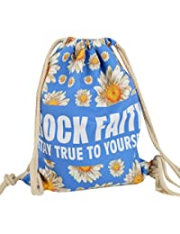 Aisa Floral Romance Drawstring Backpack Shoulder Bag Canvas Bundle Pockets Leisure Sports Bag For Girls