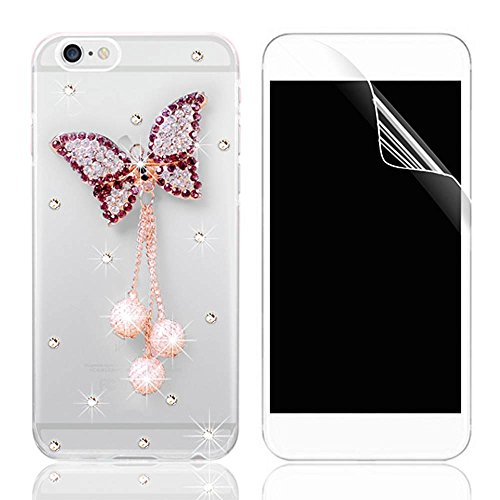 Coque iPhone 7, iPhone 7 (4.7 pouces) Coque Bling Diamant Strass Transparent Rigide PC 3D Clair Glitter Crystal Etui Housse de Protection Sunroyal® Ultra Mince Légère [Pare-Chocs Anti-Choc] Bumper Rhi Pattern 19