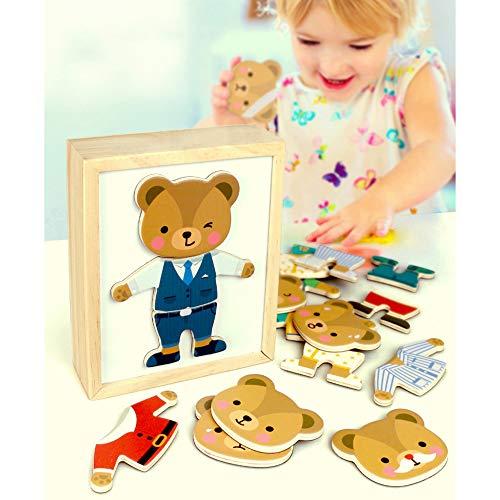 ZMH Holz Dress Up Bär Familie Puzzle 18 Stück Kinder Frühe Lernspielzeug Set, Tier Dress-Up Spiel Kinder Pretend Play Kit Geschenk für Alter 2 3 4 Jahre Alter Junge Mädchen (Dress Familie Up)