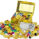 FORMIZON Tesoro Pirata Monete d'oro e Gemme dei Pirati, Scrigno del Tesoro Monete d'oro 50 Pezzi Monete d'oro Plastica e 100g Gemme dei Pirati, Partito Regalo (Pirata Scrigno del Tesoro Monete d'oro)