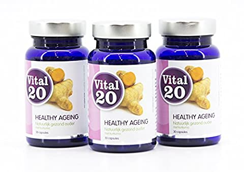Vital20 HEALTHY AGEING Value Pack - Naturally young with curcumin and milk thistle extract (90 (90 Value Pack)