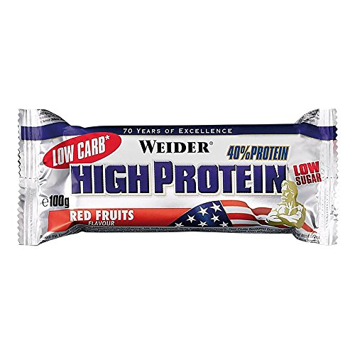 Weider - 40{518e1eafe6f5664fcee3e9eef08a6394e873095a70771f1b1ddc496443b4005c} High Protein Low Carb Bar - Red Fruits (20 Riegel á 100g) [Misc.]