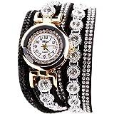 Rrimin Duoya Leather Bracelet Watch Rhinestone Quartz Bracelet Watch (Black)