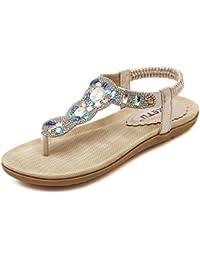 Frauen Vintage Sandalen Strass Perle Bohemia Folk Klippzehe Strand Flach Elastische T-Strap Post Thong Flip Flops Schuhe  Gold