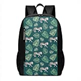 Homebe Zaino da Viaggio,Borsa Viaggio Animal Tiger Pattern White Large Giant Green Printed Patterned Themed School Travel Hiking Small Gym Teen Youth Women Men Kids Bagaglio a Mano Bag Bookbag Tote