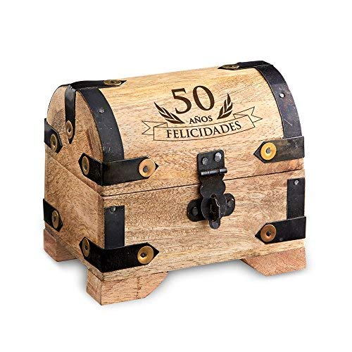 Casa Vivente – Cofre Pequeño de Madera Clara – 50 Cumpleaños – Caja para Regalar Dinero – Regalo Original y Divertido – Presentes Bonitos – 10 cm x 7 cm x 8,5 cm