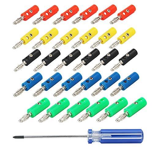 KINYOOO 4-mm-Bananenstecker, für HiFi Lautsprecherkabel, AV-Receiver, Verstärker, Surround-Sound, Bananenwandplatten, korrosionsbeständig (6 Rot, 6 Grün, 6 Blau, 6 Gelb, 6 Schwarz + Schraubendreher)