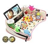Bandeja de viaje para bebé para asiento de coche de DMoose, (42 x 34 cm), superficie sólida reforzada, resistentes paredes laterales, hebillas, bolsillos de malla, bandeja impermeable para merienda, b (Rosa)