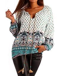 Damen Bluse Hippie Blusenshirt Schlupfbluse Druckbluse
