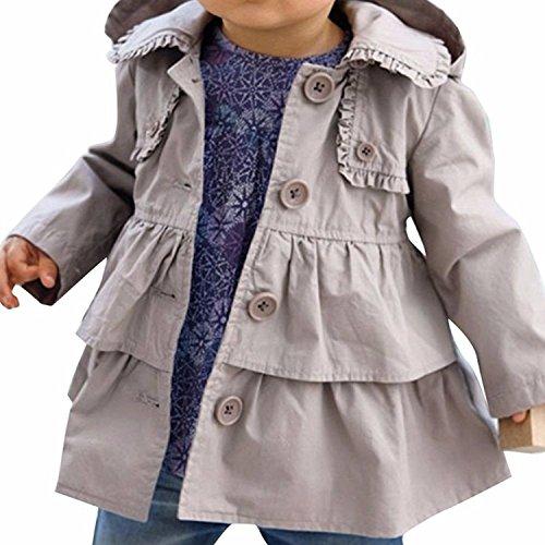 Freebily Mädchen Trenchoat Kinder Baby Jacke Mantel Jäckchen Kapuzenjacke Outdoorjacke Sweatjacke Gr. 74-110 Grau 74-80