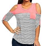 Gaddrt Mode femme découpe épaule ouverte rayé tee-shirt bretelles o-neck poches tops (Rose, L)