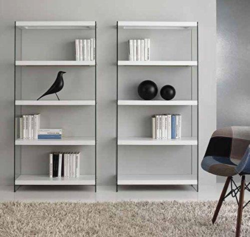Mocada Fedro Libreria Fianchi in Vetro temperato mensole Legno - Rovere