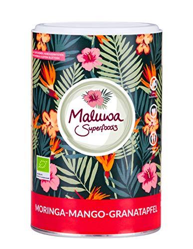 Maluwa Superfoods Bio Moringa Mango Granatapfel Tee ( 120gr - 40 Portionen - natürlicher Bio Blatteee )