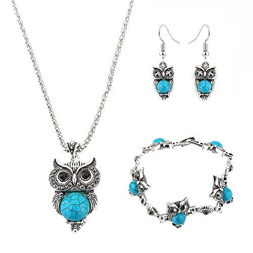 Hosaire 1 Satz Damen Armbänder + Halskette + Ohrringe Set Mode Eule mit Gem Anhänger Women Schmuck Set Necklace Earrings Bracelet Zubehör,Blau (Internationale Dame Satz)