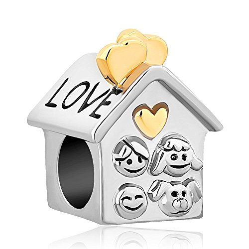 Uniqueen love family house placcato oro cuore con perline charms fit