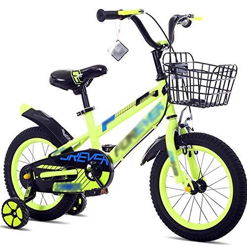 NZ-Children\'s bicycles Kinderfahrräder Kinderwagen 14.12.16.18 Zoll Mountainbike Kohlenstoffstahl Materialien Blau Grün Rot Sicherheitsmode (Farbe: Grün, Größe: 18 Zoll)