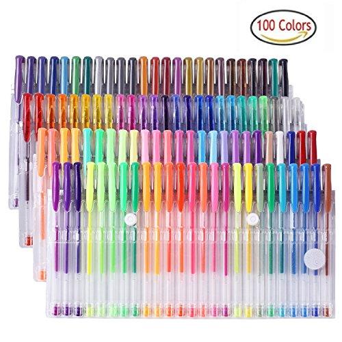 Yohoolyo Malstifteset mit 100Gel-Stiften, einzigartige Farben, einschließlich Glitzer-, Neon-, Pastel- & Metallic-Farben, Multi-Pack für Kinder Erwachsene, zum Ausmalen