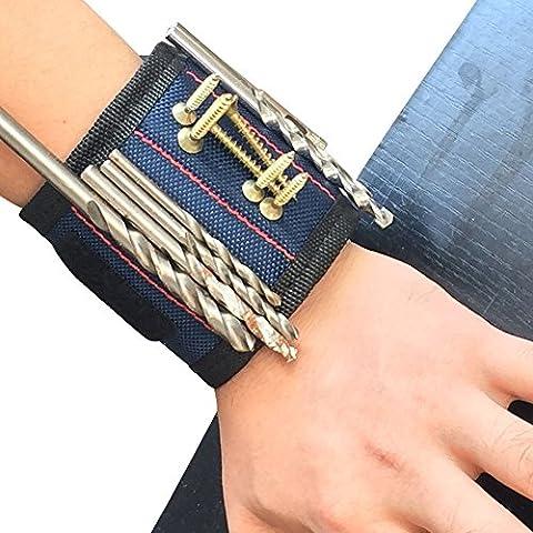 Hense Bracelet magnétique avec 6aimants puissants pour tenir Vis, clous, forets, ciseaux, et petits outils, outil Ceinture pour DIY Bricoleur, hommes, femmes (Hsz-011pcs)