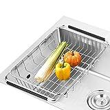 SANNO Sostenedor ajustable del estante del dren del plato sobre el fregadero Fruta vegetal y el drenador del...