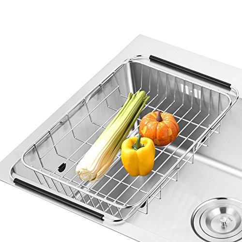 SANNO Sostenedor ajustable del estante del dren del plato sobre el fregadero Fruta vegetal y el drenador del utensilio Filtro de cocina funcional Soporte de secado del alambre del acero inoxidable