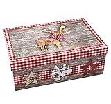 Heku Geschenkbox ~ Elch mit Schleife Weihnachten rot grau Natur ~ 18x10,5x7cm ~ 517827 ~ Kiste Box aus Pappe