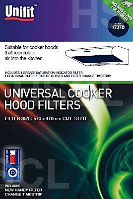 Price comparison product image UFT UNIVERSAL COOKER HOOD FILTERS WITH 1 GREASE SATURATION INDICATOR FILTERS & 1 CHARCOAL FILTER