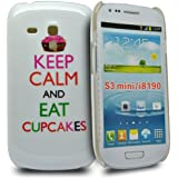 Accessory Master - Coque hybrid pour Samsung galaxy S3 mini i8190 Keep calm and eat cup cakes blanc