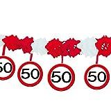 1 Girlande mit Dekoration * 50. GEBURTSTAG * mit Verkehrsschild-Design // Set Banner with Dangling Cutouts Decoration Deko Wimpelkette Jubiläum Fünfzig Jahre