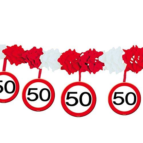 1 Girlande mit Dekoration * 50. GEBURTSTAG * mit Verkehrsschild-Design // Set Banner with Dangling Cutouts Decoration Deko Wimpelkette Jubiläum Fünfzig Jahre (Fünfzig Dekorationen Geburtstag)
