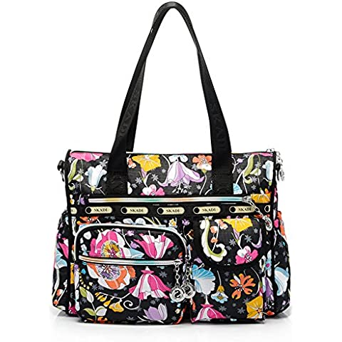 Complexion bolsa portátil bolsa de la mujer Casual totes familia viaje Beach Park Picnic mensajeros pañal bolso bandolera mochilas bolsas maquillaje bolsas negro Gem con bolsillos, mujer, Rose Red Flower, large