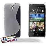 Muzzano F1409114 - Funda para HTC Desire 620 + 3 protecciones de pantalla, transparente