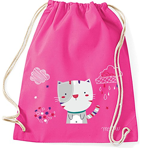 Jutebeutel Turnbeutel Sportbeutel Stofftasche Baumwolltasche Tasche Rucksack mit Kordel Gymsack Cat Katze Meow (Lila) Pink