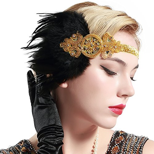 BABEYOND 1920s Feder Stirnband 20er Jahre Stil Art Deco Flapper Haarband Great Gatsby Stirnband Damen Kostüm Accessoires